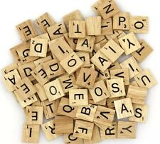 200 wooden scrabble tiles black letters and Numbers for crafts wood uk new sell