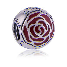 Genuine Pandora Silver Disney Belle Enchanted Rose Red Enamel Charm 791575EN09