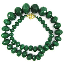 6-18mm faceted emerald green jade rondelle beads necklace 18""
