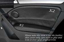 GREY Stitch 2x POSTERIORE PORTA CARD Trim pelle copre gli accoppiamenti VW GOLF MK6 VI 08-13 e