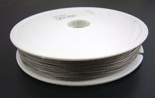 15 METRE REEL 0.8mm STEEL TIGER TAIL ANTIQUE SILVER BEADING WIRE~Bracelets (22A)