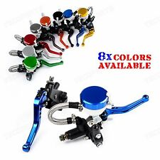 "Blue CNC Adjustable 7/8"" Clutch Brake Master Cylinder Reservoir Levers Universal"