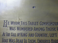 Replica Copy WW1 Memorial Tablet moulded from original-similar wording to Scroll