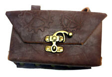 Steam Punk Brown Leather Pouch with Gears Design and Bronze Buckles NEW