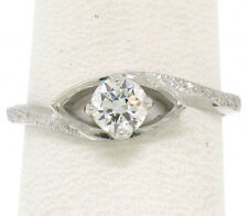 14k White Gold .35ctw Ideal Cut Round VVS E Diamond Solitaire Engagement Ring