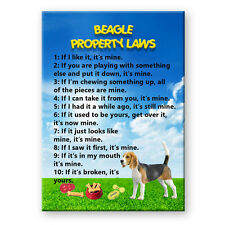 Beagle Property Laws Steel Cased Fridge Magnet Funny
