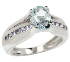 Sterling Siler 0.80 ct tw Oval Aquamarine 0.25 ct tw Tanzanite Ring Size 6 QVC