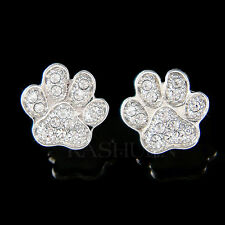 w Swarovski Crystal Dog KITTY CAT Kitten Pawprint Paw Print Animal Earrings Xmas
