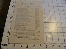 Vintage Original Paper: 1800's PRICE LIST Western Lace Manufacturing co. CHICAGO