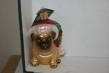 Holly Pug  Old World Christmas glass ornament