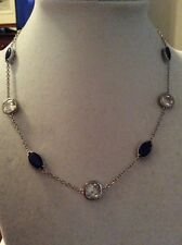 $65 Carolee Uptown Girl Sapphire Crystal Illusion Collar Necklace  CC 1