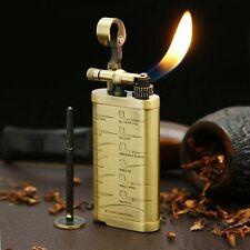 Handmade Retro Copper Refillable Flint butane Lighter With Pipe Tamper YDJ08