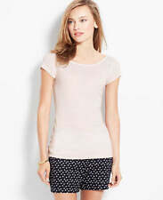 Ann Taylor - XS (0-2) Featherstone Tan Go-To Striped Side-Button Tee $36.50 (T6)