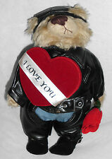 """Hand Crafted Valentine Bear 12"""" Tall Black Biker Attire With Candy Box & Rose"""