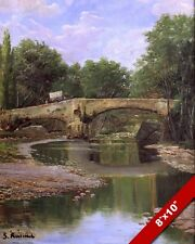 STONE BRIDGE OVER CALM RIVER SPANISH LANDSCAPE PAINTING ART REAL CANVAS PRINT
