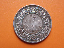 George VI King Emperor 1/2 Pice India 1940 Bronze Coin