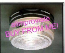 "NEW Drum CHROME Vintage GLASS Retro CEILING LIGHT FIXTURE 8"" Kitchen Bath 1108"