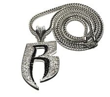 "New Iced Out RUFF RYDERS 'R' Pendant 4mm&36"" Franco Chain Hip Hop Necklace MP860"
