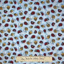 Kids Fabric - Spring Ladybug Bee Toss Blue - Marcus Brothers Cotton YARD
