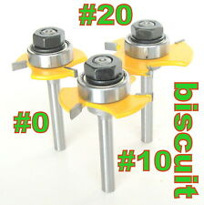"3pc 1/4"" SH Biscuit #20, #10 and #0 Joint Cutter Router Bit Set  sct-888"