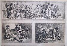 Eau-forte, J.-B. Huet, trois scènes, XVIIIe siècle