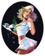 Retrò ragazza Pin up sexy girl pinup nurse adesivo etichetta sticker 9cm x 11cm
