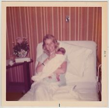 Square Vintage 70s PHOTO Young Blond Mom Holding Newborn Baby In Hospital Bed