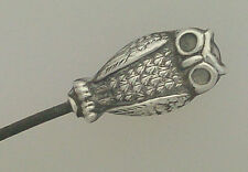 SMALL SILVER COLOURED METAL OWL HATPIN / HAT PIN -  'AJS' & STERLING AJ SMITH ?