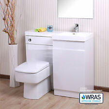 WHITE L SHAPE BATHROOM WHITE BASIN VANITY UNIT WC TOILET CABINET 1000 RIGHT HAND