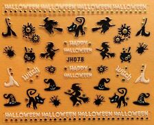 Nail Art 3D Decal Stickers Happy Halloween Black Cat Witch Cauldron Broom JH078