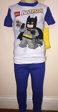 Batman Lego Boys White And Blue 2 Piece Pajamas Size 6