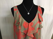 "ANN TAYLOR LOFT Taupe & Coral Ruffle Front Sleeveless Top Size Petite ""L"""