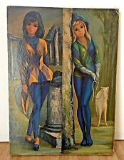Vintage Maio Side by Side Harlequin Girls Litho Art Cork Mounted Print