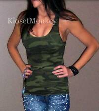 SEXY CAMO CAMOUFLAGE OLIVE DARK GREEN MILITARY STRETCH RACER BACK TANK TOP OS