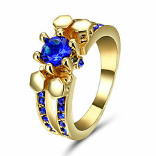 Sapphire Wedding CZ Ring Blue Gemstone Size 8 Women's 10KT Yellow Gold Filled