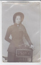 RARE VINTAGE POSTCARD YOUNG LADY IN HER SALVATION ARMY UNIFORM BY A CHAIR