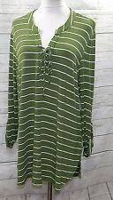 SELF ESTEEM WOMEN PLUS SIZE 1X GREEN IVORY STRIPED HI LO TEE T SHIRT TOP BLOUSE