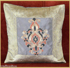 GRAY SILK DIGITAL EMBROIDERY BROCADE PILLOW COVER/CUSHION COVER FROM INDIA!!