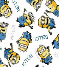 Despicable Me Minions Allover on White Cotton Fabric by HALF YARD