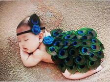 New Baby Peacock Costume One Piece & Headband Set Crochet Photo Prop 0-3 mos