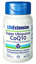 Life Extension Super Ubiquinol CoQ10 Enhanced Mitochondrial Support 50mg -30 Sg