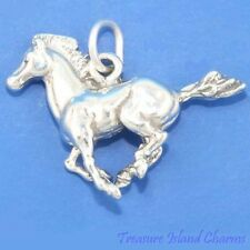 GALLOPING WILD MUSTANG HORSE 3D 925 Solid Sterling Silver Charm Pendant USA MADE