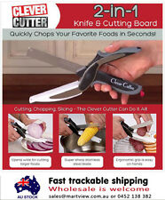 Clever Cutter 2-in-1 Knife & Cutting Board Scissors As Seen On TV Retail Box