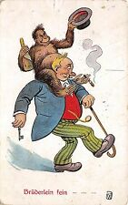 B82882 comic monkey drinking drunk man Caricature   front/back scan