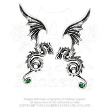 NWT Bestia Regalis Dragon & Wings Earrings Emerald Crystals Alchemy Gothic E286