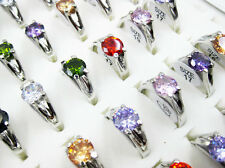 Wholesale Jewelry Lots 20pcs Silver Plated Cubic Zircon Fashion Rings