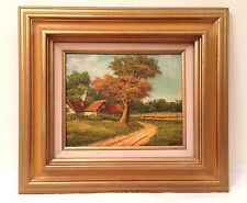 Vtg COTTAGE LANDSCAPE OIL PAINTING signed Gilded Wood Frame