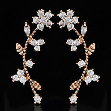 Womens Yellow Gold Plated Ear Crystal Leaf Flower Ear Cuff Stud Earrings