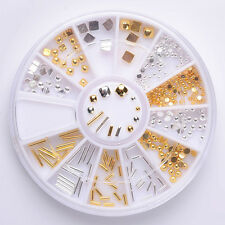 1 Box Mixed 3D Nail Art Decoration Wheel Alloy Bar Stud Rhinestone Manicure DIY