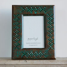 Fair Trade Handmade Hara Antique Green Mango Wood 6 x 4 image Photo Frame